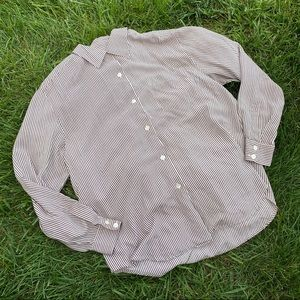 Vtg button up silk striped blouse 12